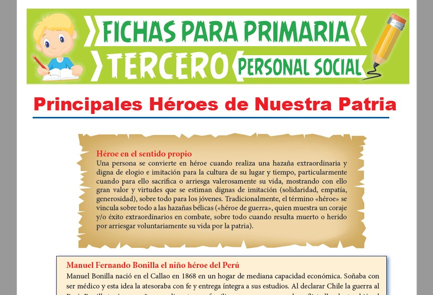 Ficha de Principales Héroes del Perú para Tercer Grado de Primaria
