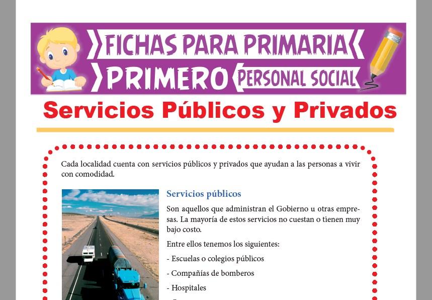 Ficha de Servicios Públicos y Privados para Primer Grado de Primaria
