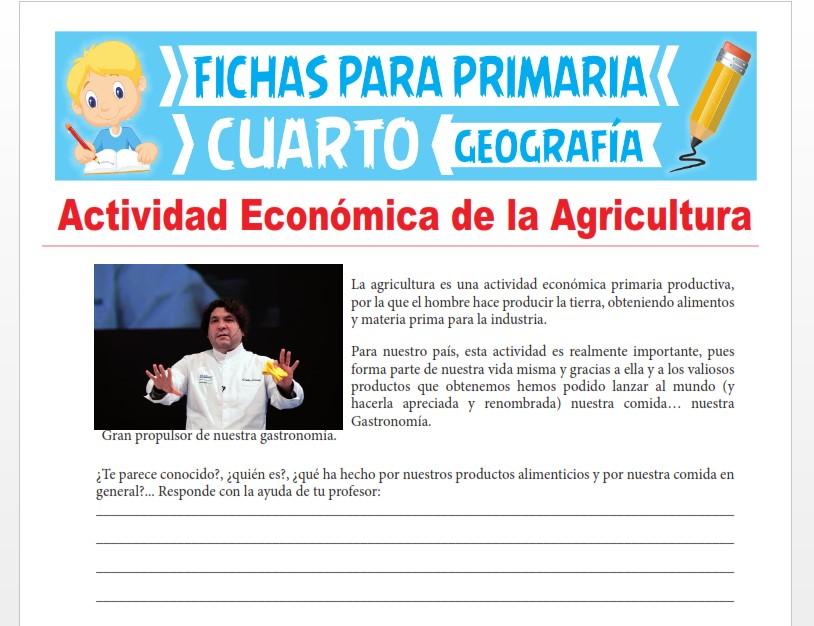 Ficha de Actividad Económica de la Agricultura para Cuarto Grado de Primar