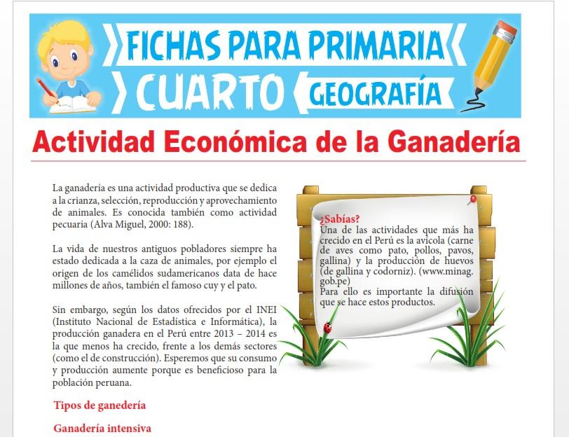 Ficha de Actividad Económica de la Ganadería para Cuarto Grado de Primaria