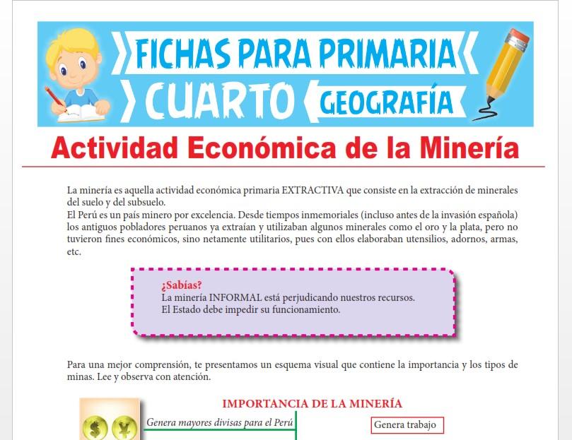 Ficha de Actividad Económica de la Minería para Cuarto Grado de Primaria