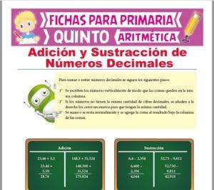 Ficha de Adición y Sustracción de Decimales para Quinto Grado de Primaria