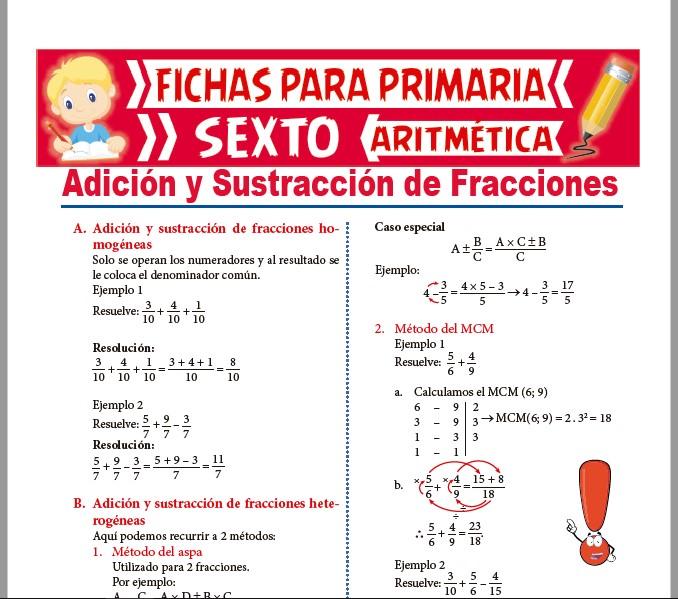 Ficha de Adición y sustracción de Números fraccionarios para Sexto de Primaria