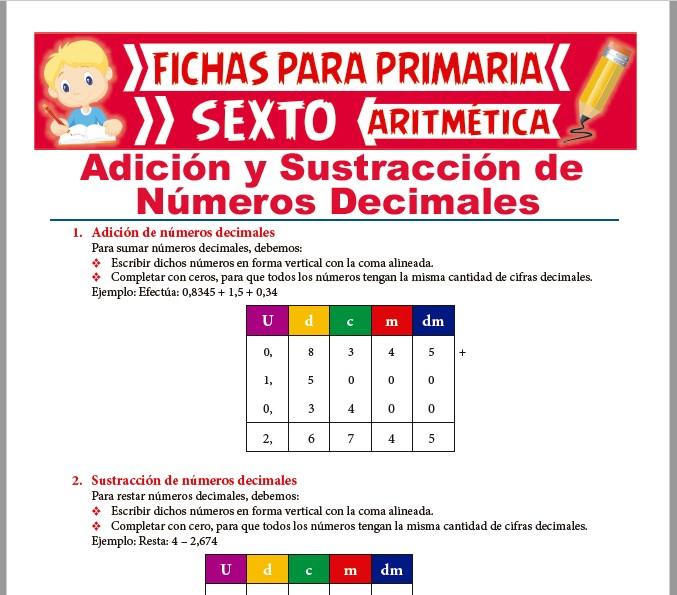 Ficha de Adiciones y Sustracciones de Números Decimales para Sexto de Primaria