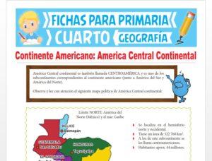Ficha de América Central Continental para Cuarto Grado de Primaria