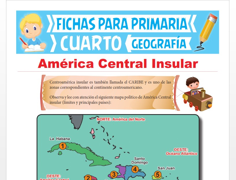 Ficha de América Central Insular para Cuarto Grado de Primaria