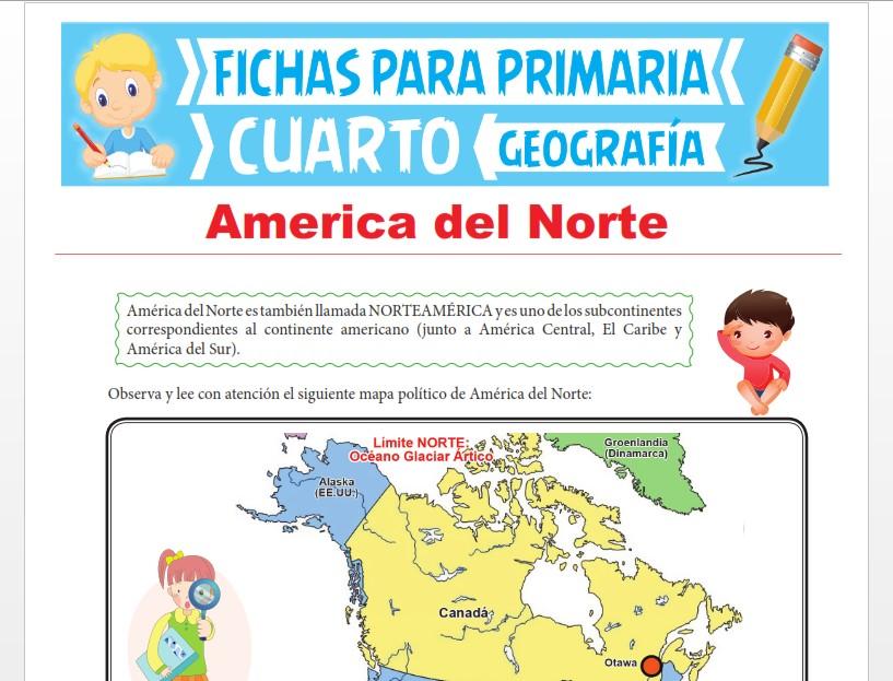 Ficha de América del Norte para Cuarto Grado de Primaria