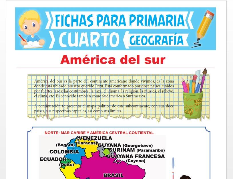 Ficha de América del Sur para Cuarto Grado de Primaria
