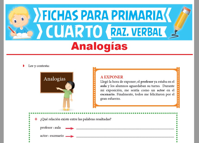 Ficha de Analogías Ejercicios para Cuarto Grado de Primaria