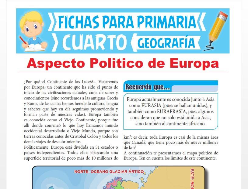 Ficha de Aspecto Político de Europa para Cuarto Grado de Primaria