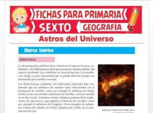 Ficha de Astros del Universo para Sexto Grado de Primaria