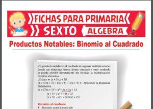 Ficha de Binomio al Cuadrado para Sexto Grado de Primaria