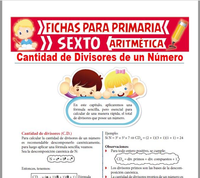 Ficha de Cantidad de Divisores de un Número para Sexto de Primaria