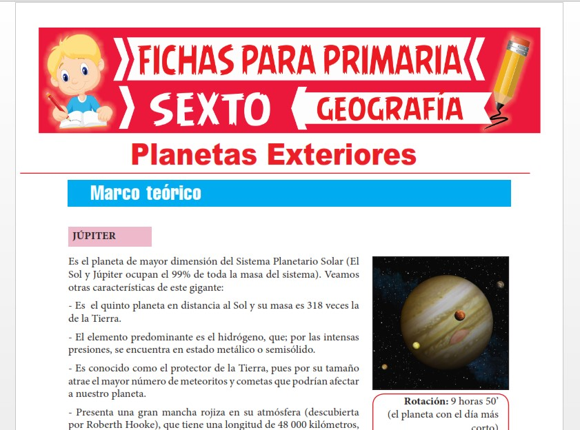 Ficha de Características de los Planetas Exteriores para Sexto Grado de Primaria