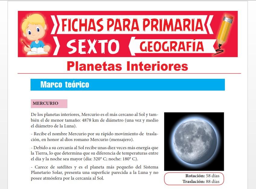 Ficha de Características de los Planetas Interiores para Sexto Grado de Primaria