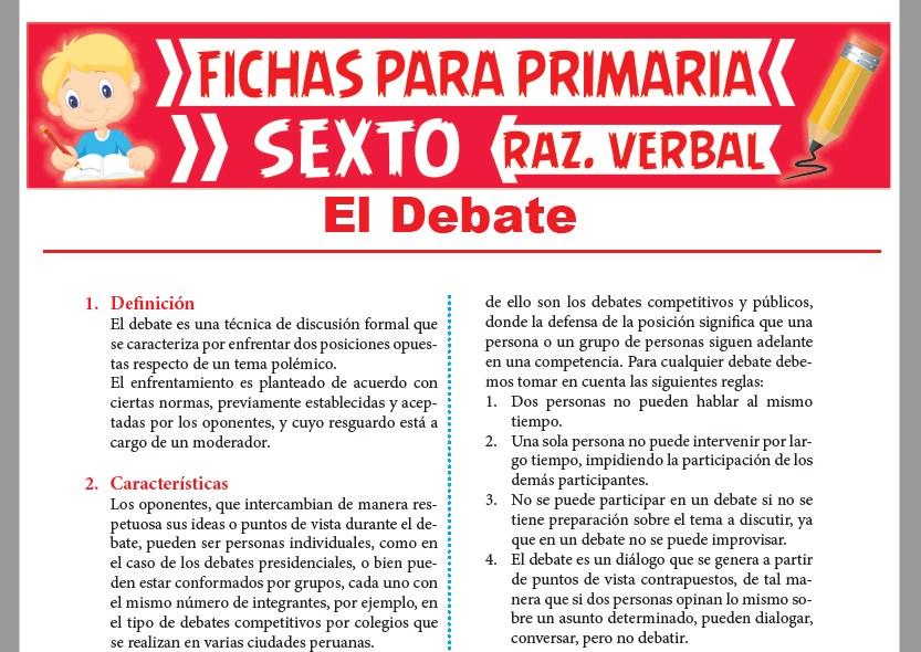 Ficha de Características del Debate para Sexto Grado de Primaria