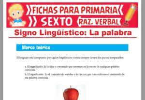 Ficha de Características del Signo Lingüístico para Sexto Grado de Primaria