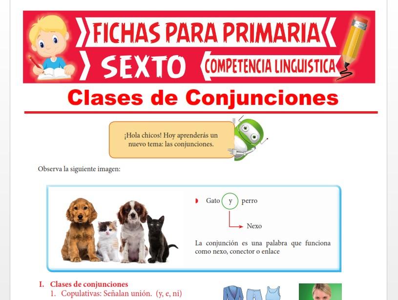 Ficha de Clases de Conjunciones para Sexto Grado de Primaria