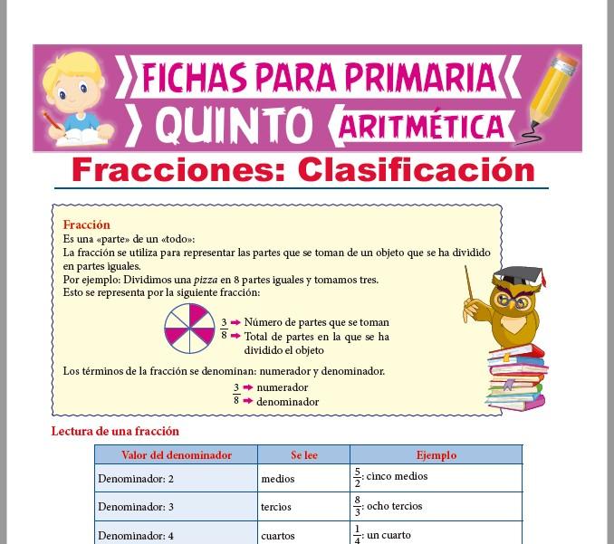 Ficha de Clases de Fracciones para Quinto Grado de Primaria