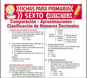 Ficha de Clasificación de Números Decimales para Sexto de Primaria