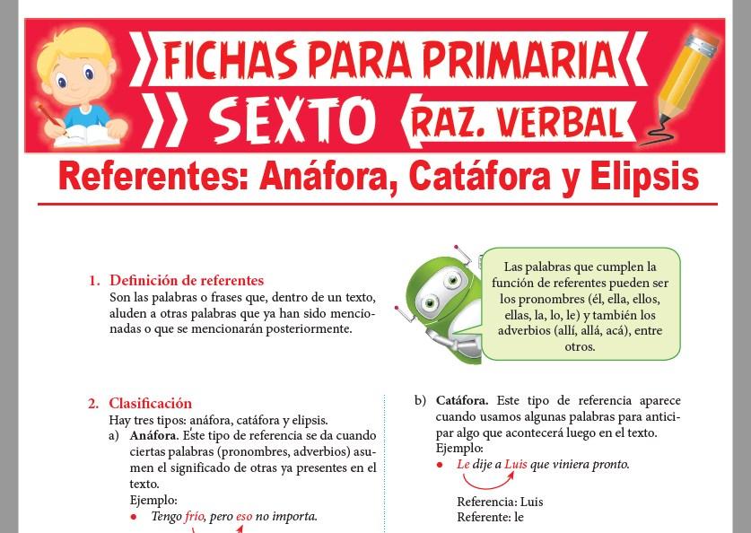 Ficha de Clasificación de Referentes para Sexto Grado de Primaria