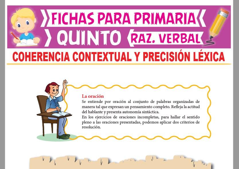 Ficha de Coherencia Contextual y Precisión Léxica para Quinto Grado de Primaria