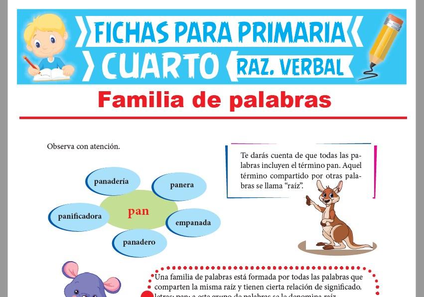 Ficha de Concepto de Familia de Palabras para Cuarto Grado de Primaria