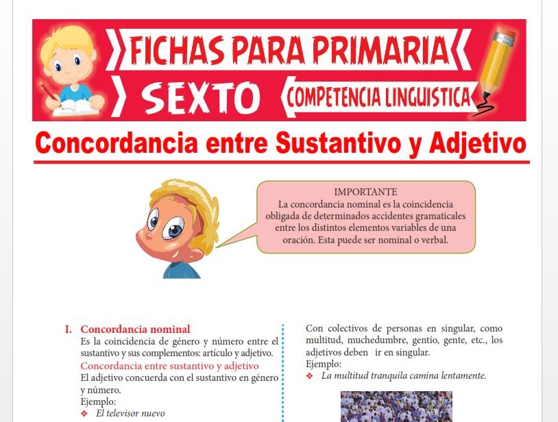 Ficha de Concordancia entre Sustantivo y Adjetivo para Sexto Grado de Primaria