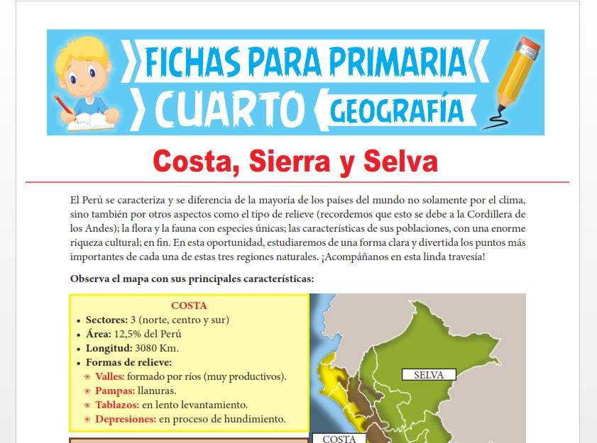 Ficha de Costa, Sierra y Selva para Cuarto Grado de Primaria