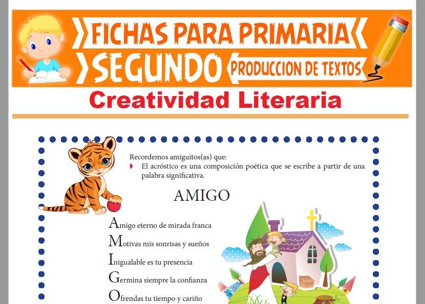 Ficha de Creatividad Literaria para Segundo Grado de Primaria