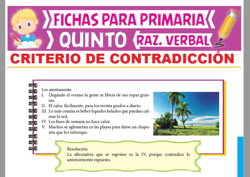 Ficha de Criterio de Contradicción para Quinto Grado de Primaria