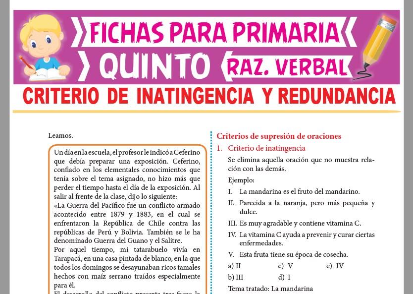 Ficha de Criterio de Inatingencia y Redundancia para Quinto Grado de Primaria