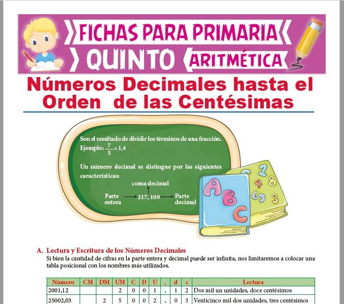 Ficha de Decimales hasta el Orden de las Centésimas para Quinto Grado de Primaria