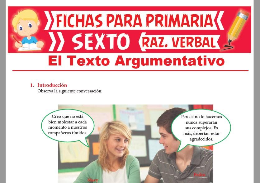 Ficha de Definición de Texto Argumentativo para Sexto Grado de Primaria