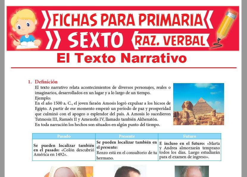 Ficha de Definición de Texto Narrativo para Sexto Grado de Primaria