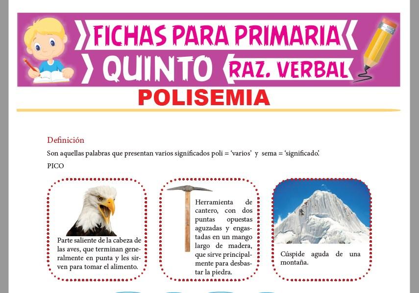 Ficha de Definición de la Polisemia para Quinto Grado de Primaria
