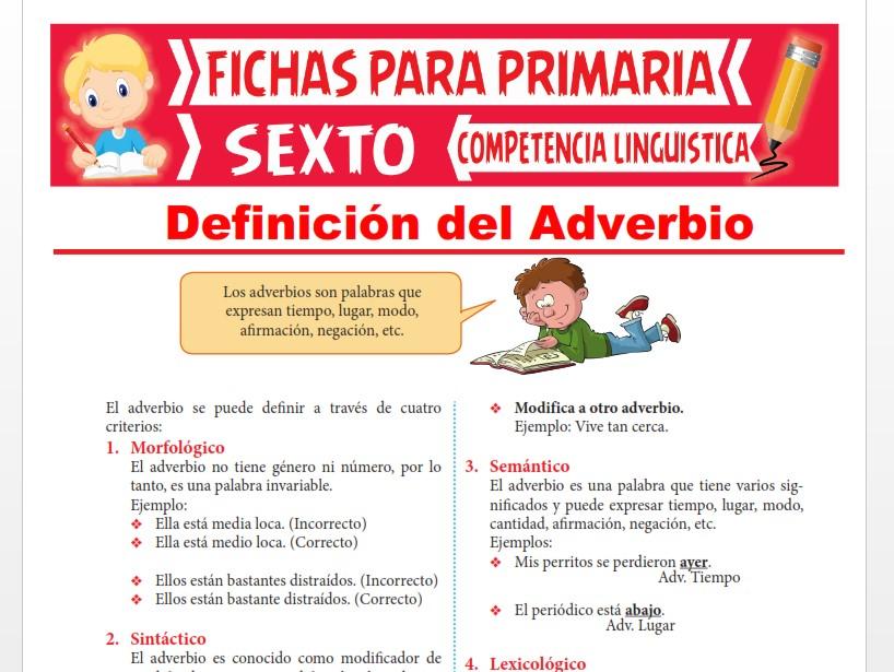 Ficha de Definición del Adverbio para Sexto Grado de Primaria