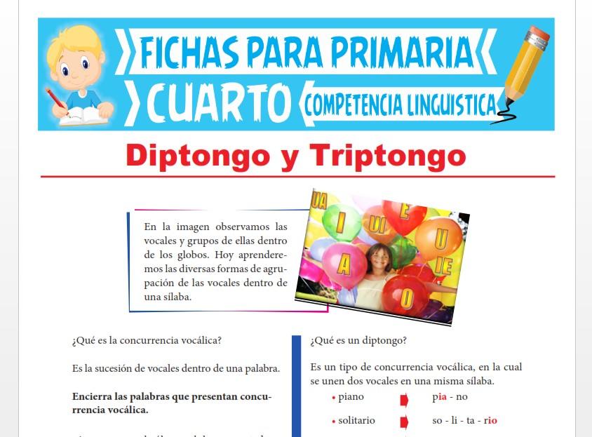 Ficha de Diptongo y Triptongo para Cuarto Grado de Primaria