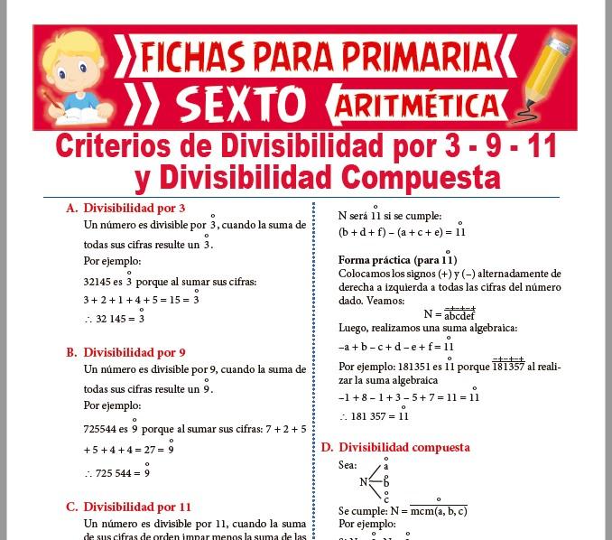 Ficha de Divisibilidad Compuesta para Sexto de Primaria
