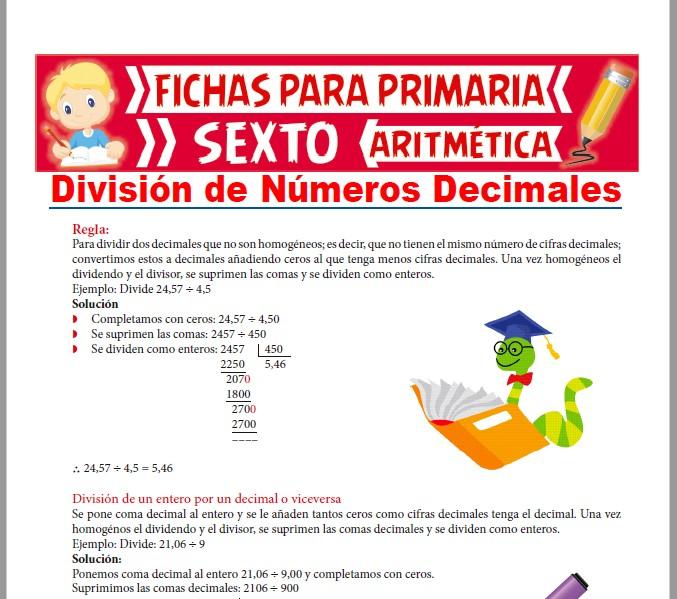 Ficha de Divisiones de Números Decimales para Sexto de Primaria