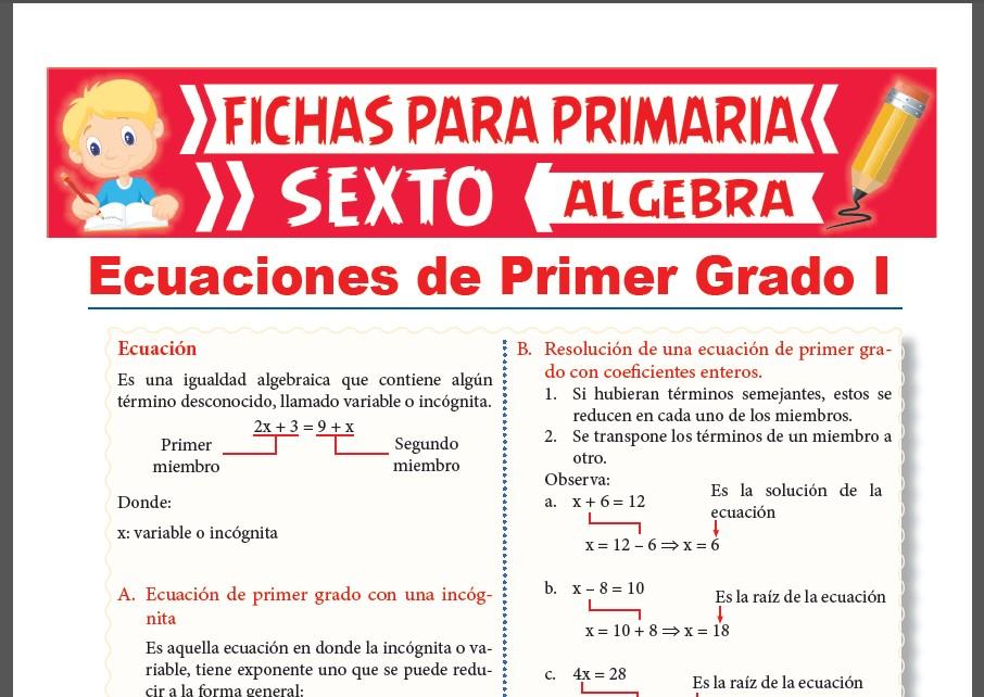 Ficha de Ecuaciones de Primer Grado con Coeficientes Enteros para Sexto Grado de Primaria