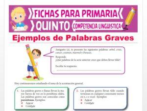Ficha de Ejemplos de Palabras Graves para Quinto Grado de Primaria