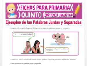 Ficha de Ejemplos de las Palabras Juntas y Separadas para Quinto Grado de Primaria