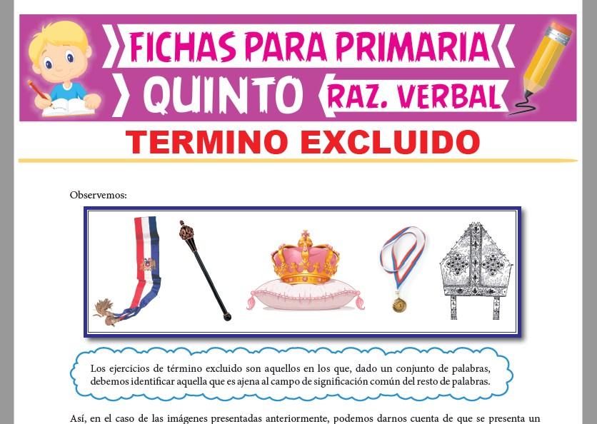 Ficha de Ejercicios de Término Excluido para Quinto Grado de Primaria