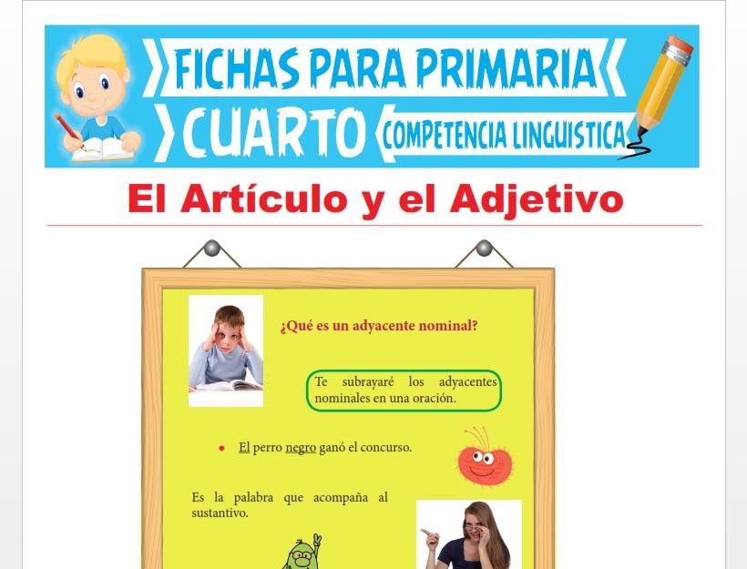 Ficha de El Artículo y el Adjetivo para Cuarto Grado de Primaria