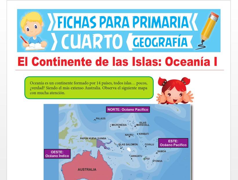 Ficha de El Continente de Oceanía para Cuarto Grado de Primaria