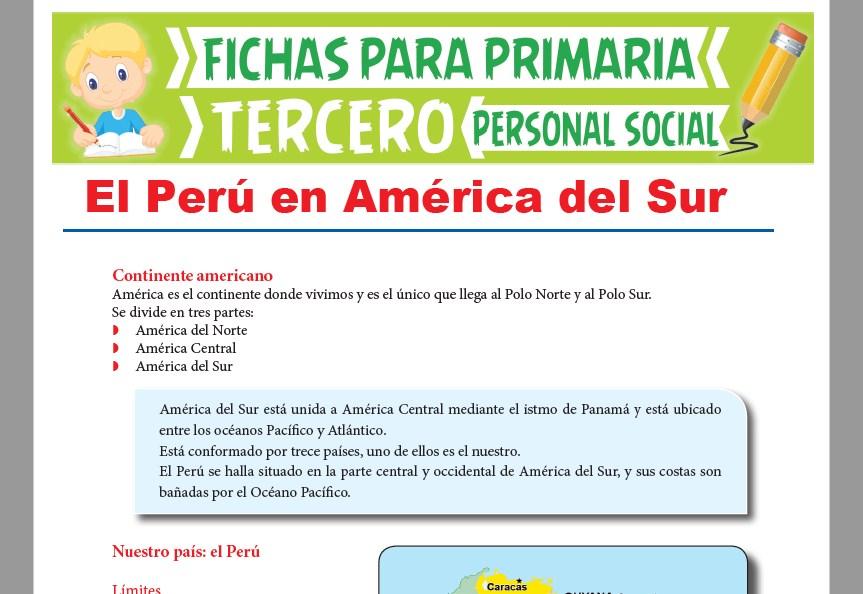 Ficha de El Perú en América del Sur para Tercer Grado de Primaria