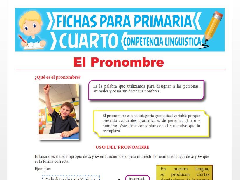 Ficha de El Pronombre para Cuarto Grado de Primaria