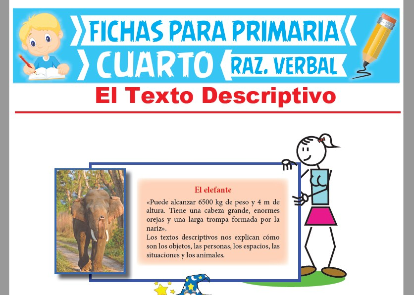 Ficha de El Texto Descriptivo para Cuarto Grado de Primaria