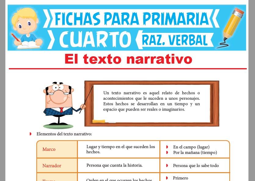 Ficha de El Texto Narrativo para Cuarto Grado de Primaria